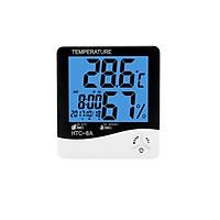 Đồng hồ để bàn kiêm máy đo nhiêt độ độ ẩm trong phòng có đèn nền màu xanh