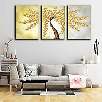 Bộ 3 tranh canvas treo tường Decor Họa tiết cây lá vàng - DC191