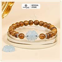 Vòng tay Trầm Hương Tứ Diệp Bảo - Charm bạc 925 và đá phong thủy - Trầm Tốc Lào - Thiên Mộc Hương