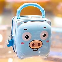Hộp thiếc đựng tiền có khóa hình lợn kute