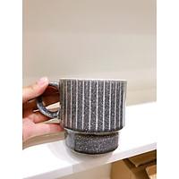 Ly cốc sứ tráng men vân đá họa tiết kẻ sọc nổi 450ml (Chọn màu)
