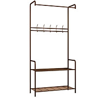 Carbon Steel Rod Hanging Clothes Garment Rack Organizer Indoor Hanger with 2-Tier Bottom Storage Shelf and Hooks for