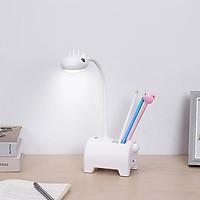 Đèn học chống cận hình thú tích hợp quạt và ống đựng bút-màu trắng