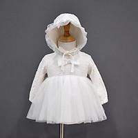 Váy công chúa trắng thêu hoa đầy tháng/ thôi nôi cho bé gái (kèm mũ bèo tiểu thư) hàng cao cấp
