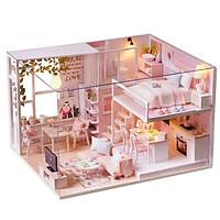 Mô Hình Lắp Ghép DIY - Pink House ( Tặng Kèm Mica Che Bụi)