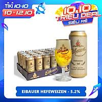 Thùng Bia Thầy Tu Eibauer Hefeweizen - Bia Lúa Mì Phong Cách Đức - Chính Hãng (500ml x 24 Lon)