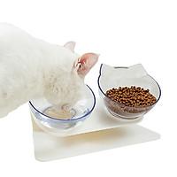 Pet Dog Cat Double Feeder Water Bowl Neck Protection Bowl 15 Degree Tilt