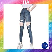 Quần Jean Nữ Lưng Cao H&A Fashion Rách Đùi Dáng Ôm KVQJN513