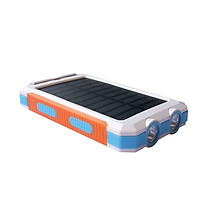 Outdoor Waterproof Solar Power Bank Dual USB Phone Charger w/ LED Light
