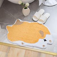 Thảm Chùi Chân Lông Xù Chống Trượt Hình Chó Shiba Cắt Điệu Siêu Mềm Mại 45x68cm - Chùi chân trước  nhà tắm và cửa ra vào