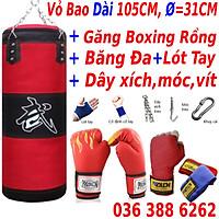 Combo vỏ bao trụ cát tập đấm bốc boxing, mma, trainning + Găng bao tay đấm bốc mma figher hở ngón + Băng Đa