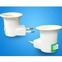 EU Plug to E27 Bug Zapper LED Light Bulb Adapter Socket Holder with Switch, Professional