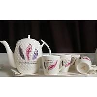 Bộ ấm chén kèm khay sứ pha trà cà phê phong cách cổ điển trắng họa tiết  hoa văn lông vũ trang nhã - ANTH004 ( Giao ngẫu nhiên )