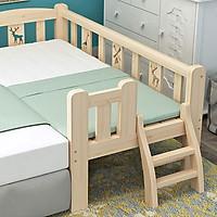 Giường ngủ cho bé chất liệu gỗ thông dài 2m rộng 1m có cầu thang,quây 3 mặt tặng kèm hộp bút màu nước.