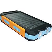 10000mAh Solar Power Bank DIY Case Kit Dual USB Charger+LED Flashlight+Compass Blue
