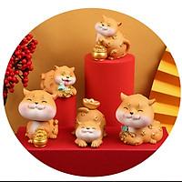 Bộ 05 chú Mèo vàng Thần Tài may mắn