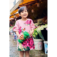 Đầm A kid hồng tím gấm 1AD4002 ADORE DRESS