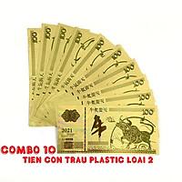 Combo 10 tờ lưu niệm 100 hình con Trâu màu vàng, chất liệu nhựa plastic (loại 2), dùng để trang trí trong nhà, treo cây hoa mai, làm tiền lì xì, quà mừng dịp Lễ, Tết 2021 - TMT Collection - SP005097