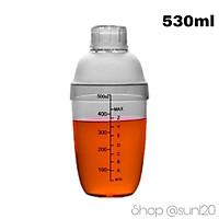 Bình lắc pha chế shaker 530ml Cocktail trà sữa nhựa