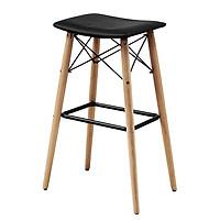 Ghế bar JYSK Severin da PU/chân gỗ tự nhiên màu đen 52x78x34cm