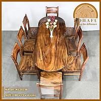Mặt bàn oval gỗ me tây nguyên tấm, dài 190 x rộng 73 x dày 4 (cm), vân veo tự nhiên cực đẹp KL20239