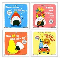 Combo Ehon Nhật Bản CHƠI CÙNG GIRI - CHÚ BÉ CƠM NẮM: Cùng Các Bạn Đội Mũ Nào! + Qủa Lê Là Nhà Của Tớ! + Không Phải Trái Cây Đâu! + Xe Của Ai Đây Nhỉ? (Bộ 4 cuốn Phát triển trí tuệ 0 - 6 tuổi/ Tặng kèm Bookmark Happy Life)