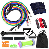 16pcs Fintess Resistance Bands Set Exercise Tube Bands Jump Rope Door Anchor Ankle Straps Cushioned Handles Fitness