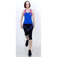 Bộ thể thao lửng nữ áo 3 lỗ phối viền màu cao cấp-DL9