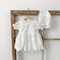 (Tặng Mũ Bèo) Váy ren đính hoa trắng kèm mũ bèo tiểu thư xinh xắn cho bé 0-3 tuổi hàng cao cấp