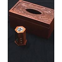 Hộp đựng giấy ăn Gỗ Hương chạm khắc Chữ Thọ tinh xảo tặng kèm ống tăm khảm chai ( hình thật )