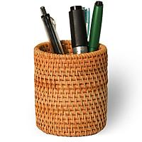 Ống cắm bút bằng mây đan thủ công (APH07), dụng cụ đựng bút để bàn bằng nguyên liệu thiên nhiên thân thiện môi trường
