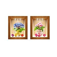 Decal trang trí bộ 2 bình hoa ô tường 3D Bo2Binh-004 kim sa