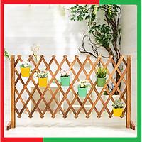 Hàng rào gỗ có thể gấp gọn hay kéo dài tới 200cm để trang trí ban công và sân vườn,Có thể treo chậu cây hoa lên trang trí - Hàng Rào gỗ Trang Trí Ban Công Nhà Cửa Vườn Hoa