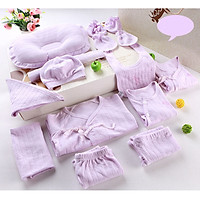 Set đồ sơ sinh cotton 18 chi tiết mùa xuân hè thu cho bé trai và bé gái (3 bộ bồ, 1 yếm choàng lớn, 1 gối, 1 yếm tròn nhỏ, 1 yếm tam giác, 4 khăn sữa, 1 mũ, 1 đôi tất tay, 1 đôi tất chân)