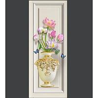 Tranh decal dán tường 3D bình hoa sen đẹp