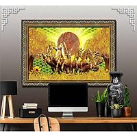 Bức tranh ngựa treo tường bát mã - MÃ ĐÁO THÀNH CÔNG chất liệu in vải lụa hoặc giấy ảnh bóng gương Mã số:L8F-00401376L8