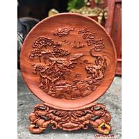 Đĩa gỗ trang trí anh hùng tương ngộ bằng gỗ hương đường kính đĩa 30 - 35 - 40 cm dày 4 cm