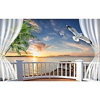 Tranh dán tường 3d cửa sổ biển lúc bình minh ép kim sa có sẵn keo CS37