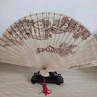 Quạt trúc cầm tay quạt phong cách cổ trang Trung Quốc in hoa trang trí quạt cổ trang mẫu đình làng tặng ảnh thiết kế Vcone
