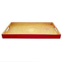 Khay sơn mài chữ nhật vân gỗ tự nhiên đỏ Đông Gia