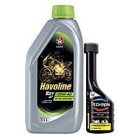 Bộ sản phẩm dầu nhớt xe số Caltex Havoline Super 4T Ezy SAE 20W-40 1L kèm dung môi pha xăng