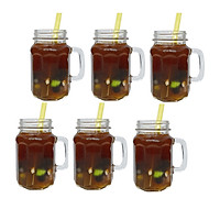 Bộ 6 Ly Cốc Thủy Tinh Uống Trà Sữa 10 Cạnh Camdaco 450ML (Nắp thiếc màu ngẫu nhiên)