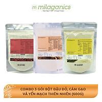 Bộ 3 Dưỡng Da Thiên Nhiên Milaganics: Bột Cám Gạo (200g) + Bột Yến Mạch (200g) + Bột Đậu Đỏ (200g)