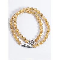 Vòng Chuỗi Hạt Đeo Tay 2 Lines Đá Thạch Anh Tóc Vàng Phối Charm Bạc (6mm) Mệnh Thổ, Kim Ngọc Quý Gemstones