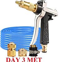 Bộ dây vòi xịt nước rửa xe, tưới cây .tăng áp 3 lần,loại 3m, 5m 206236 đầu đồng,cút đồng,nối đồng+ tặng móc khoá