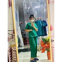 Bộ Scrubs nữ bác sĩ phẫu thuật, kỹ thuật viên, hộ lý, điều dưỡng phòng mổ màu xanh két