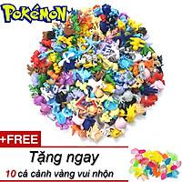 Bộ mô hình 144 Pokemon đa hệ trang trí cho bé làm đồ chơi sưu tập tặng kèm 10 cá cảnh nhiều màu dễ thương