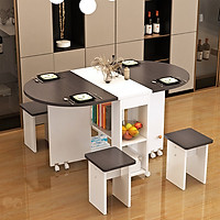 Bộ bàn ăn gồm 4 ghế gấp gọn thông minh cao cấp hình bầu dục