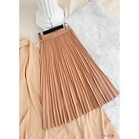 (ẢNH THẬT) Chân váy midi dập li có 4 màu có size