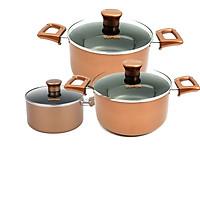 Bộ nồi 3 chiếc 18-20-24 chống dính vung kính sử dụng được trên bếp từ Supor hàng chính hãng- màu  nâu đồng